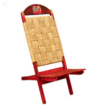 ARM'S Wood & Rope Combination Handpainted Chair