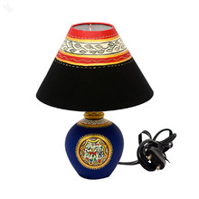 Table Lamp with Terracota Base Matka - Warli 13 Inches Navy Blue