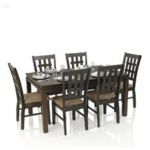Royal Oak Daisy Dining Set with 6 Chairs Solid Wood - Chequered