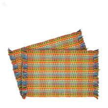 Door Mat Multicoloured Checks 2-Piece Set 3 x 2 ft