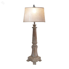 Distressed Wooden Table Lamp - Antique White
